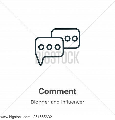 Comment icon isolated on white background from blogger and influencer collection. Comment icon trend