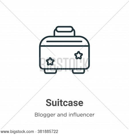 Suitcase icon isolated on white background from blogger and influencer collection. Suitcase icon tre
