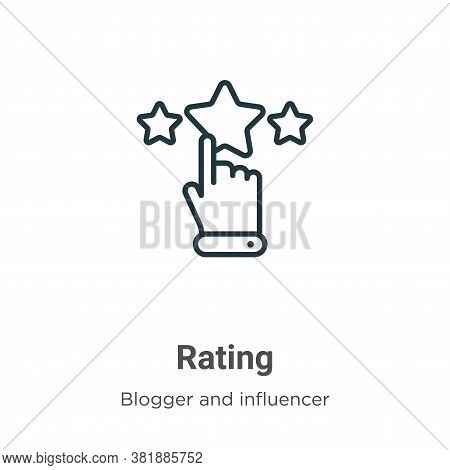 Rating icon isolated on white background from blogger and influencer collection. Rating icon trendy