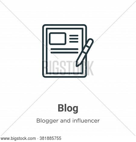Blog icon isolated on white background from blogger and influencer collection. Blog icon trendy and