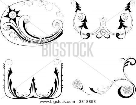 Holidays decorative design elements. Welcome to my portfolio poster
