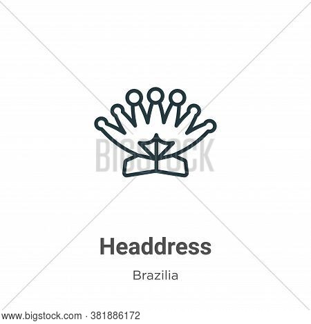 Headdress icon isolated on white background from brazilia collection. Headdress icon trendy and mode
