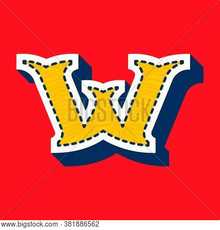 W Letter Sports Team Logo In Tackle Twill Style. Embroidered Serif Font For University Uniform, Base