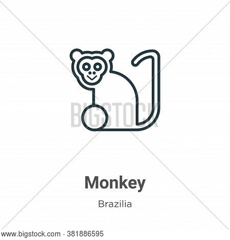 Monkey icon isolated on white background from brazilia collection. Monkey icon trendy and modern Mon