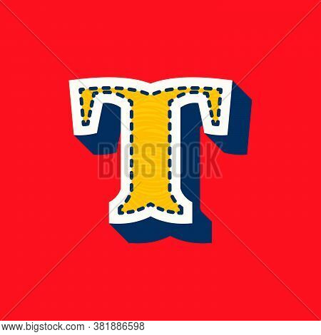 T Letter Sports Team Logo In Tackle Twill Style. Embroidered Serif Font For University Uniform, Base