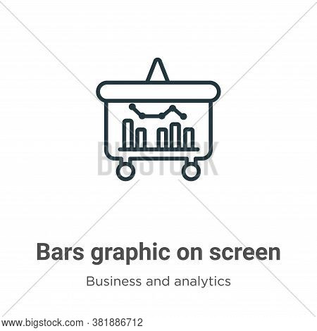 Bars graphic on screen icon isolated on white background from business and analytics collection. Bar