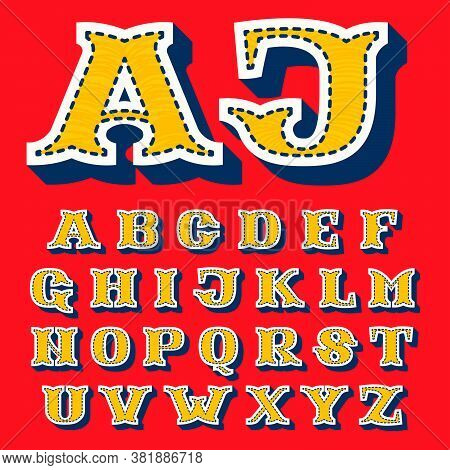 Sports Team Alphabet In Tackle Twill Style. Embroidered Serif Font For University Uniform, Baseball