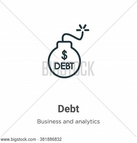 Debt icon isolated on white background from business and analytics collection. Debt icon trendy and