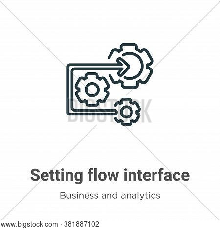 Setting flow interface symbol icon isolated on white background from business and analytics collecti