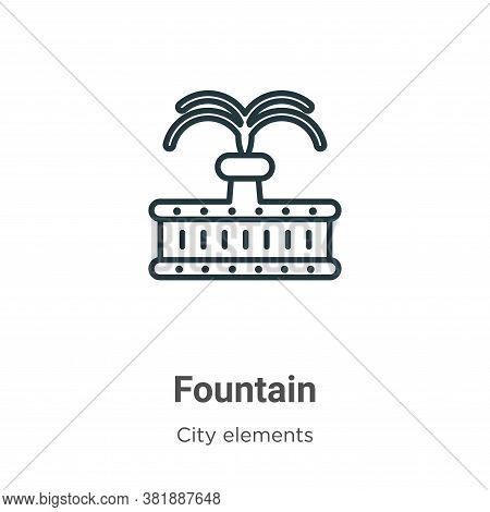 Fountain icon isolated on white background from city elements collection. Fountain icon trendy and m