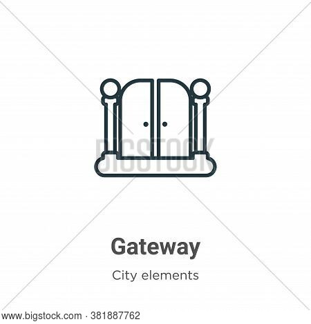 Gateway icon isolated on white background from city elements collection. Gateway icon trendy and mod