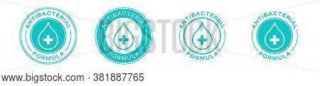Antibacterial Formula Product Package Seal Vector Drop And Cross Icon. Antibacterial Soap, Toilet Ba