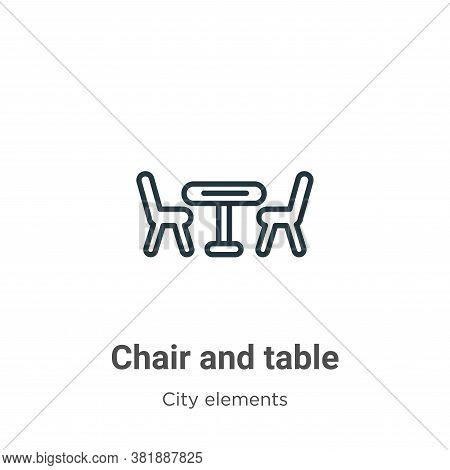 Chair and table icon isolated on white background from city elements collection. Chair and table ico
