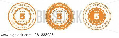 Spf 5 Sun Protection, Uva And Uvb Vector Icons. Spf 5 Basic Uv Protection Skin Lotion And Cream Pack
