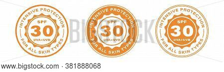 Spf 30 Sun Protection, Uva And Uvb Vector Icons. Spf 30 Intensive Uv Protection Skin Lotion And Crea
