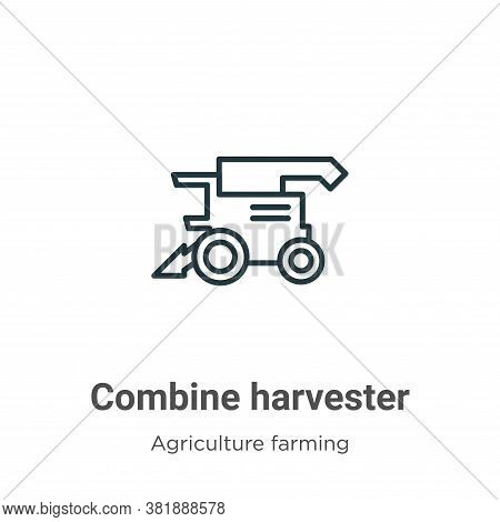 Combine harvester icon isolated on white background from agriculture farming and gardening collectio