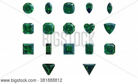 3d Render Of Emerald Gemstones Of Various Shapes: Round, Square, Oval, Triangular And Heart-shaped