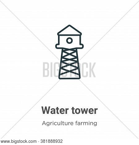 Water tower icon isolated on white background from agriculture farming and gardening collection. Wat