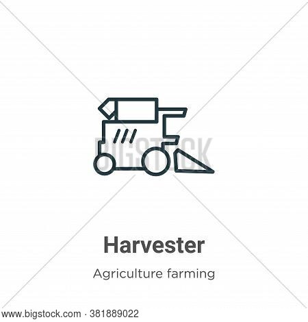Harvester icon isolated on white background from agriculture collection. Harvester icon trendy and m