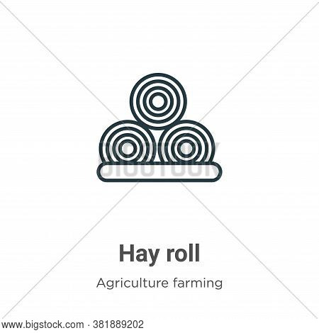 Hay roll icon isolated on white background from farming and gardening collection. Hay roll icon tren