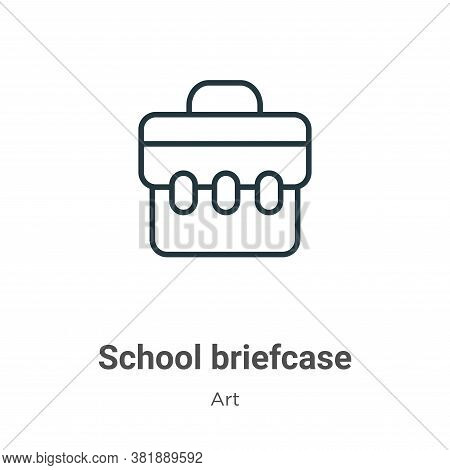 School briefcase icon isolated on white background from art collection. School briefcase icon trendy