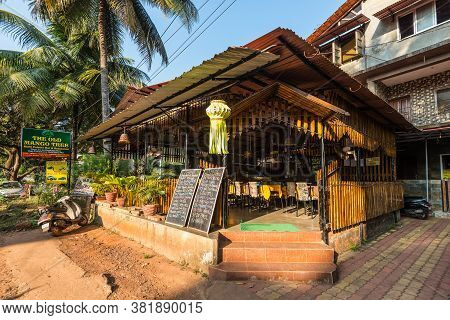 Candolim, North Goa, India - November 23, 2019: Street View Of Candolim At Sunny Day With The Old Ma