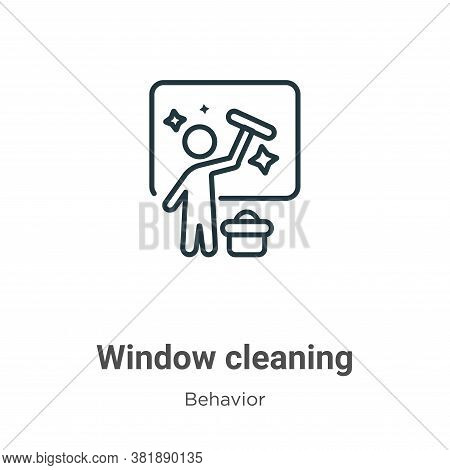 Window cleaning icon isolated on white background from behavior collection. Window cleaning icon tre