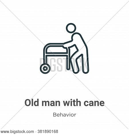 Old man with cane icon isolated on white background from behavior collection. Old man with cane icon