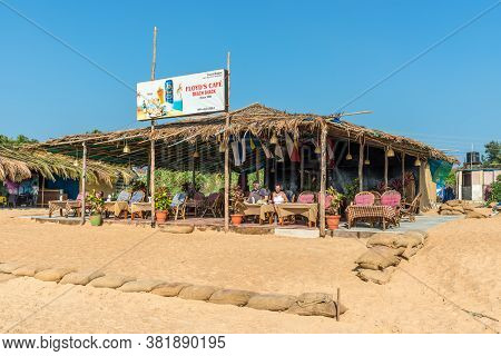 Candolim, North Goa, India - November 23, 2019: Exterior Of The Floyds Cafe Beach Shake Located On T