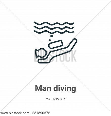 Man diving icon isolated on white background from behavior collection. Man diving icon trendy and mo