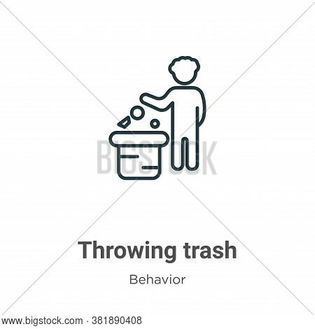 Throwing trash icon isolated on white background from behavior collection. Throwing trash icon trend