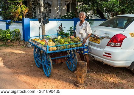 Candolim, North Goa, India - November 23, 2019: Street Fruit Vendor On The Way To The Candolim Beach
