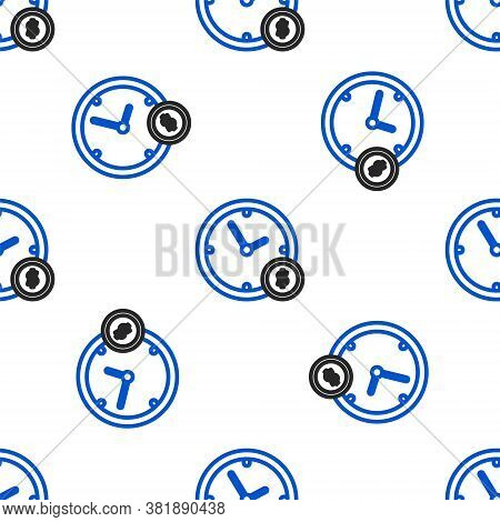 Line Time Is Money Icon Isolated Seamless Pattern On White Background. Money Is Time. Effective Time