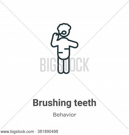 Brushing teeth icon isolated on white background from behavior collection. Brushing teeth icon trend