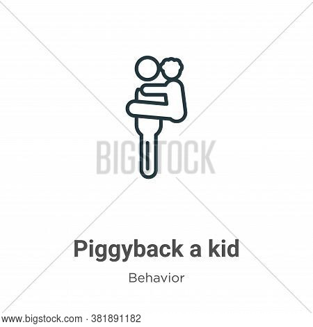 Piggyback a kid icon isolated on white background from behavior collection. Piggyback a kid icon tre