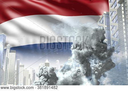 Huge Smoke Pillar In The Modern City - Concept Of Industrial Explosion Or Terrorist Act On Netherlan