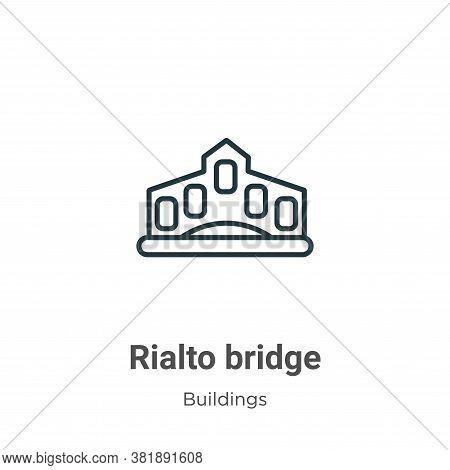 Rialto bridge icon isolated on white background from buildings collection. Rialto bridge icon trendy