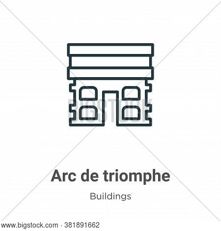 Arc de triomphe icon isolated on white background from buildings collection. Arc de triomphe icon tr