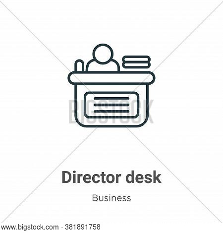 Director desk icon isolated on white background from business collection. Director desk icon trendy