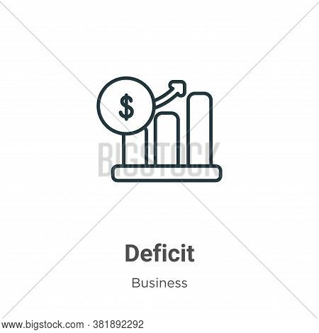 Deficit icon isolated on white background from business collection. Deficit icon trendy and modern D