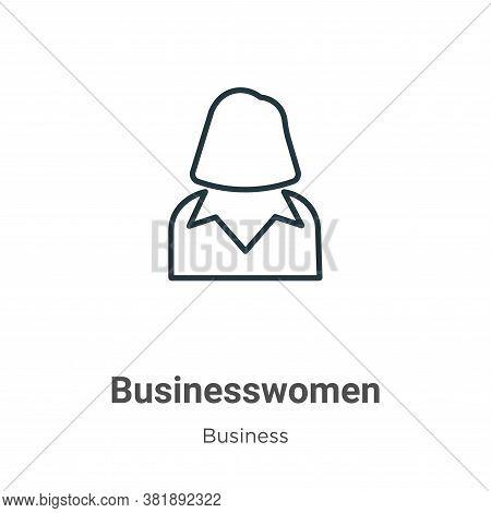 Businesswomen icon isolated on white background from business collection. Businesswomen icon trendy