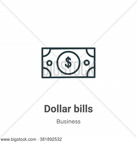 Dollar bills icon isolated on white background from business collection. Dollar bills icon trendy an