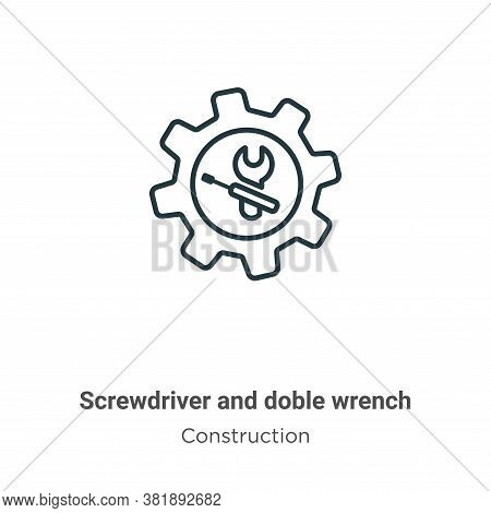 Screwdriver and doble wrench icon isolated on white background from construction collection. Screwdr