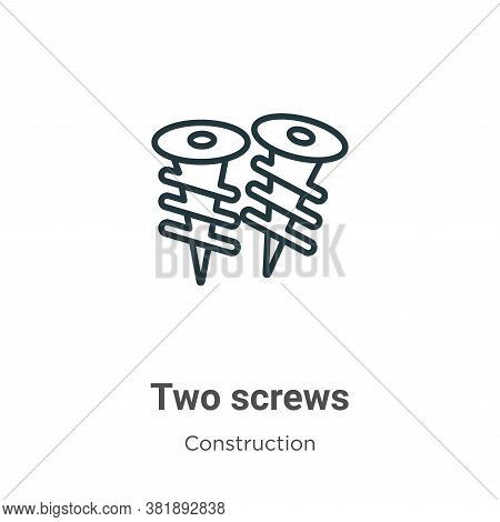 Two screws icon isolated on white background from construction collection. Two screws icon trendy an