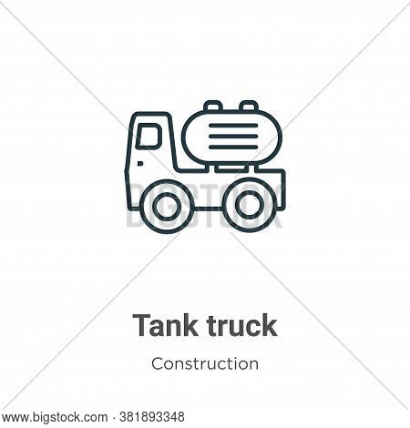 Tank truck icon isolated on white background from construction collection. Tank truck icon trendy an