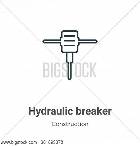 Hydraulic breaker icon isolated on white background from construction collection. Hydraulic breaker