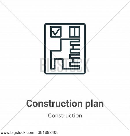 Construction plan icon isolated on white background from construction collection. Construction plan