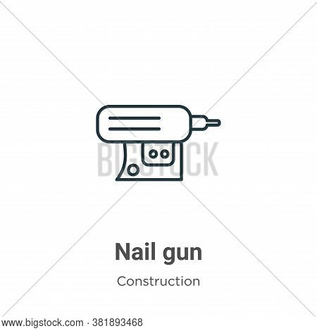 Nail gun icon isolated on white background from construction collection. Nail gun icon trendy and mo