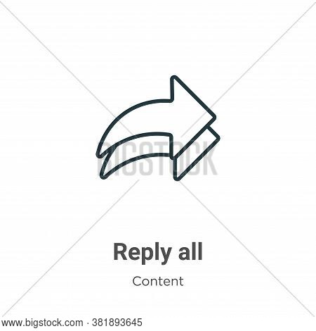 Reply all icon isolated on white background from content collection. Reply all icon trendy and moder