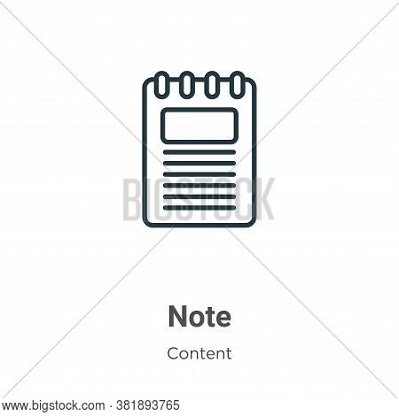 Note icon isolated on white background from content collection. Note icon trendy and modern Note sym